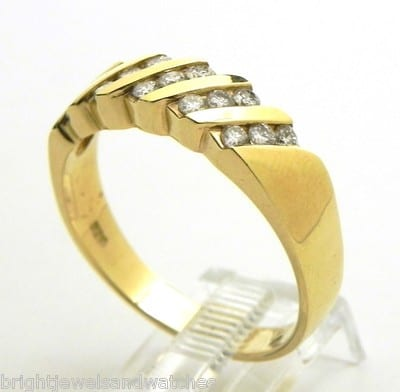 Mens 14k Yellow Gold Diamond Channel Set Band Ring