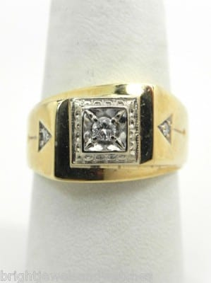 Mens 14k Yellow Gold Diamonds Arrow Design Pinky Ring