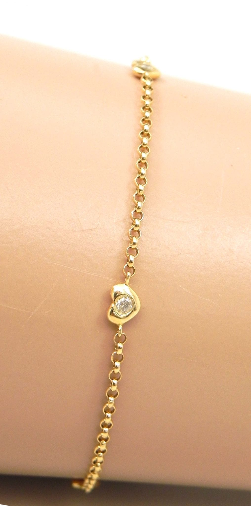 Ladies 14k Yellow Gold Diamonds Heart Anklet Bright Jewelers