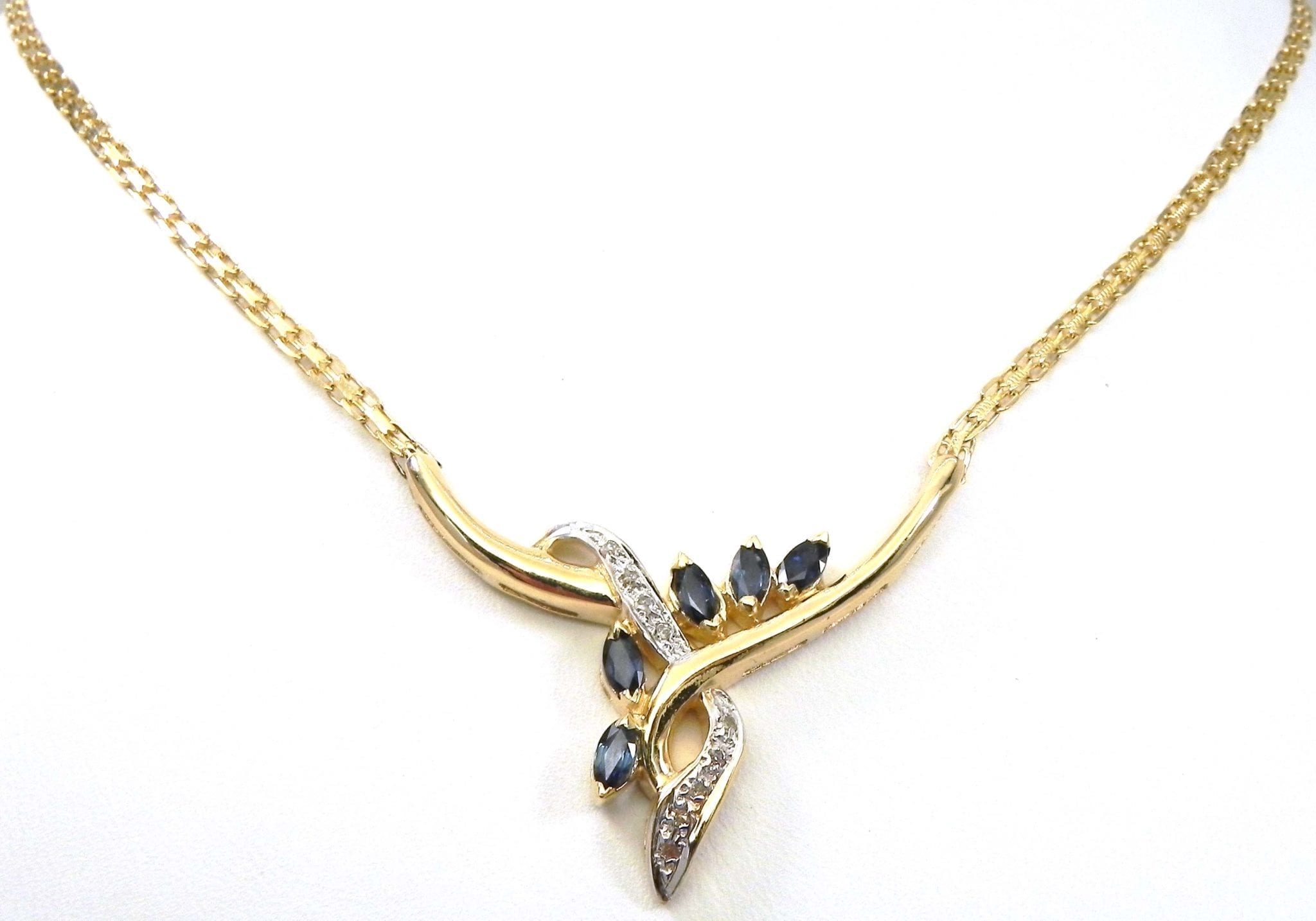 Ladies 14k Yellow Gold Diamonds Amp Blue Sapphire