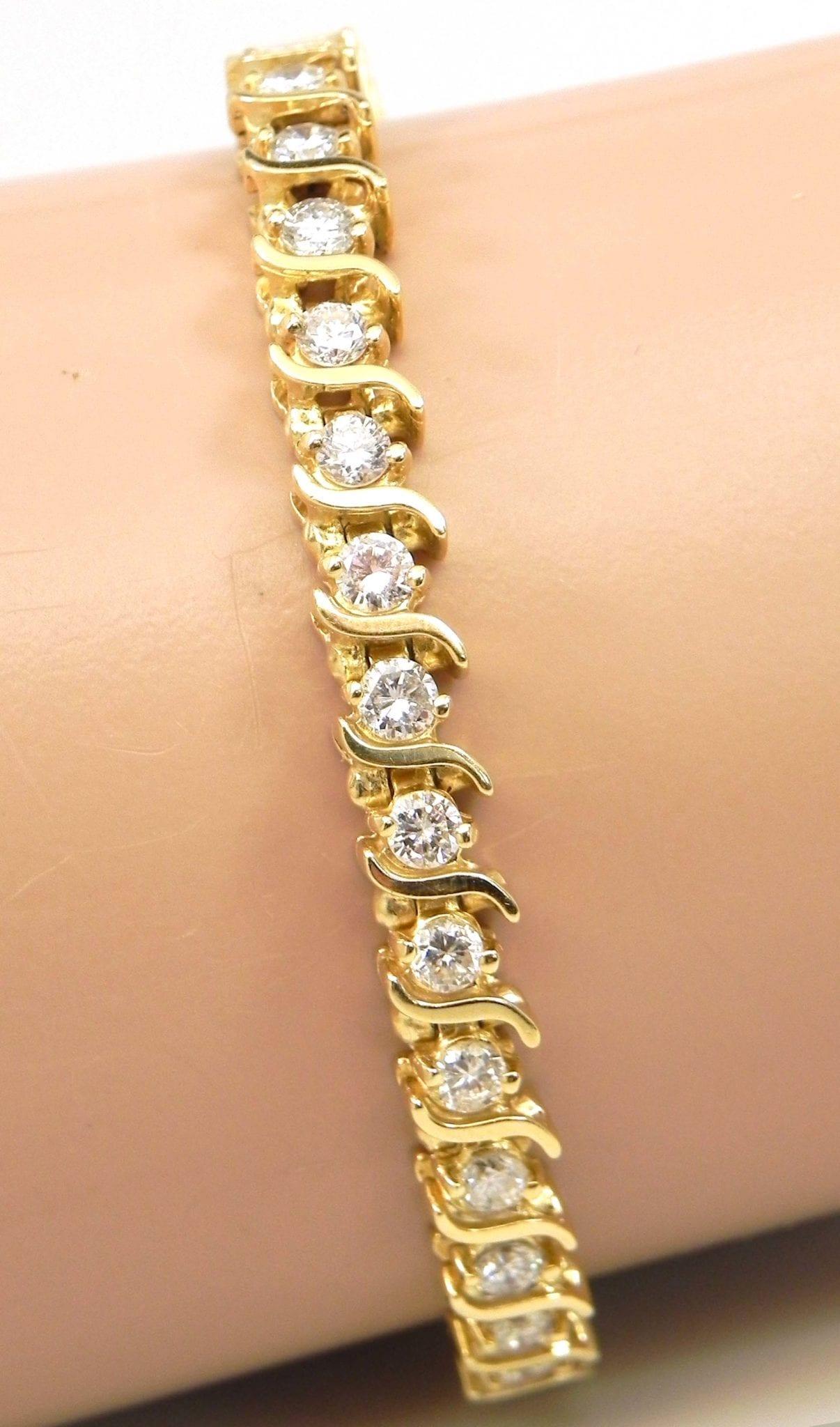 Ladies 14k Yellow Gold 456 Cts Diamonds S Tennis