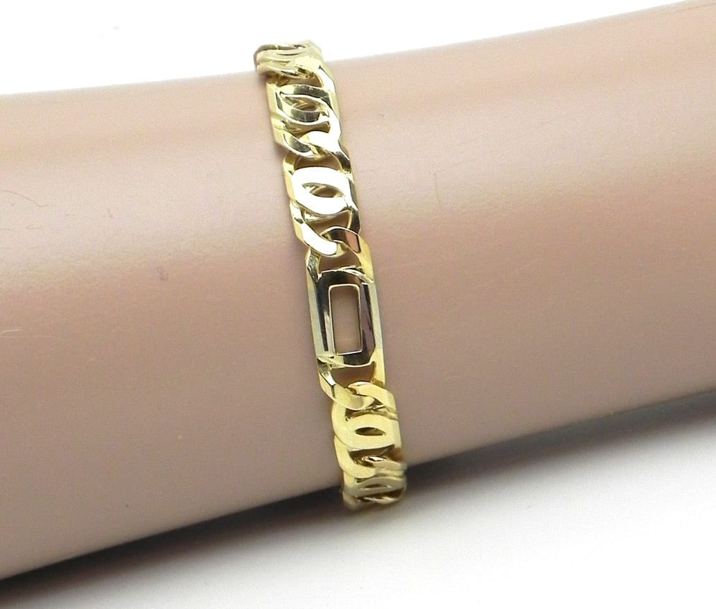 Mens 14k Two Tone Figarucci Link Bracelet Bright Jewelers