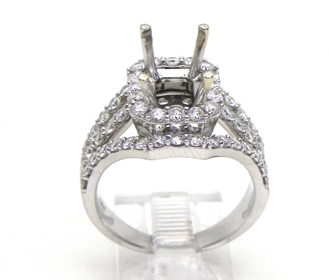 Ladies 14k White Gold 147 Cts Diamonds Emerald Semi