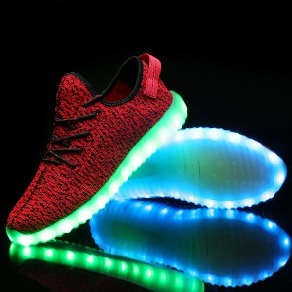 Bright LED Light Up Trainers Red Kids Remote
