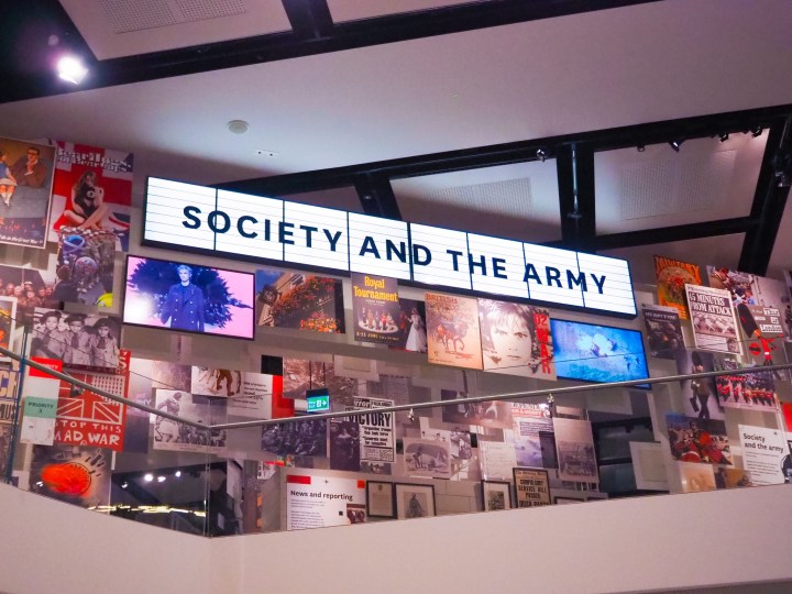 The brightly coloured and more modern exhibition called 'Society and the Army'