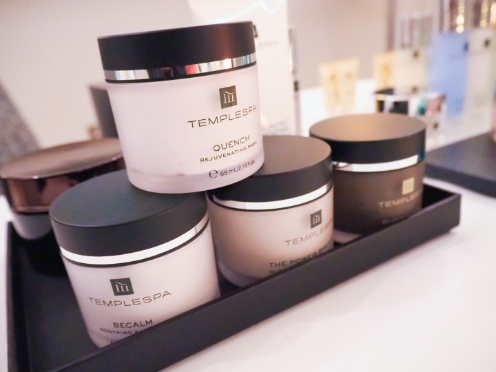Some of the Temple Spa Masks lined up in a display.