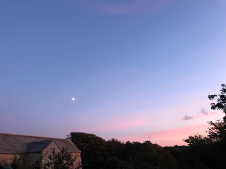 The pink and purple sunset over Trerice.