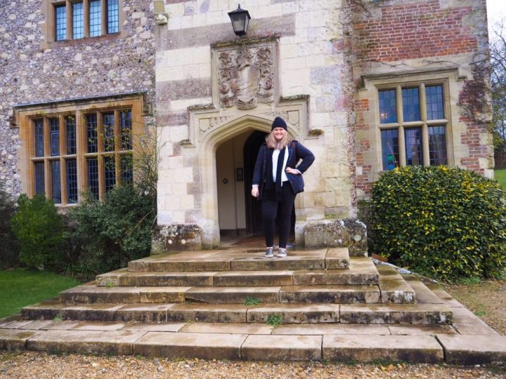 Bex stood outside the front of Chawton House in Hampshire, England