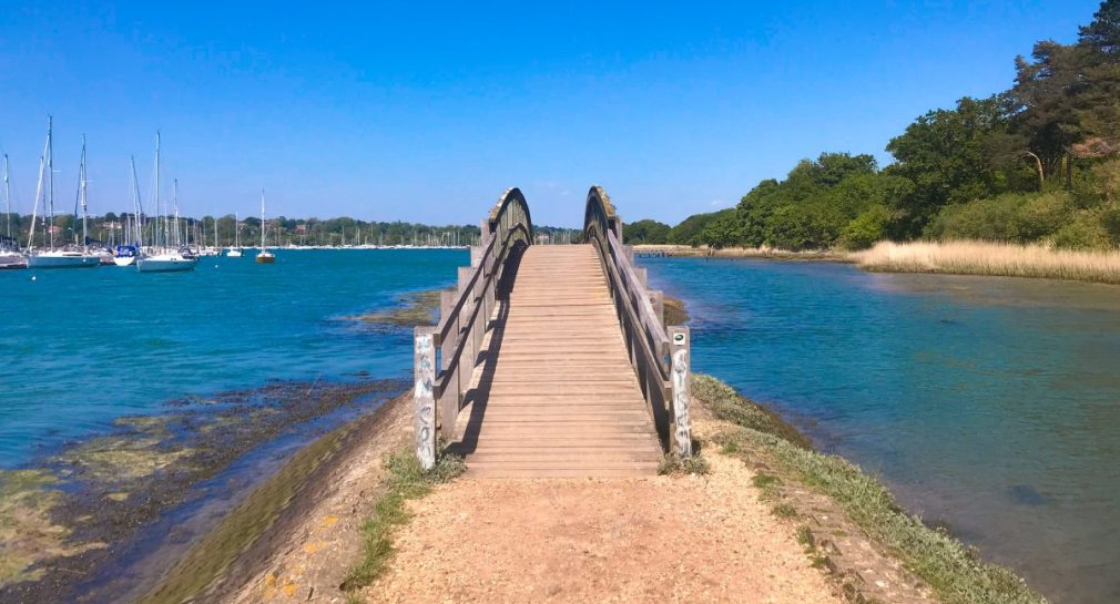 A bridge across the River Hamble, moving forward