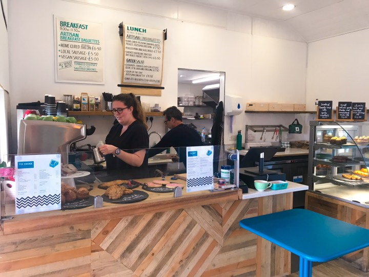 The counter at Cafe Fresco by Canoe Lake in Southsea, Portsmouth, Hampshire