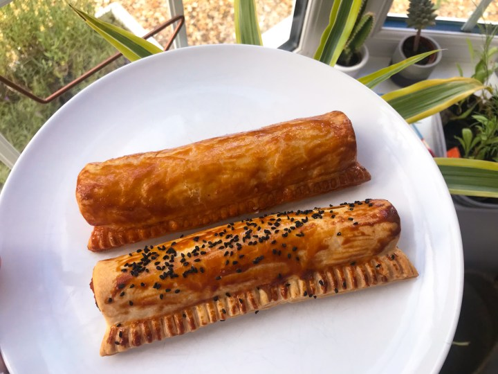 Sausage rolls from Cafe Fresco by Canoe Lake in Southsea, Portsmouth, Hampshire