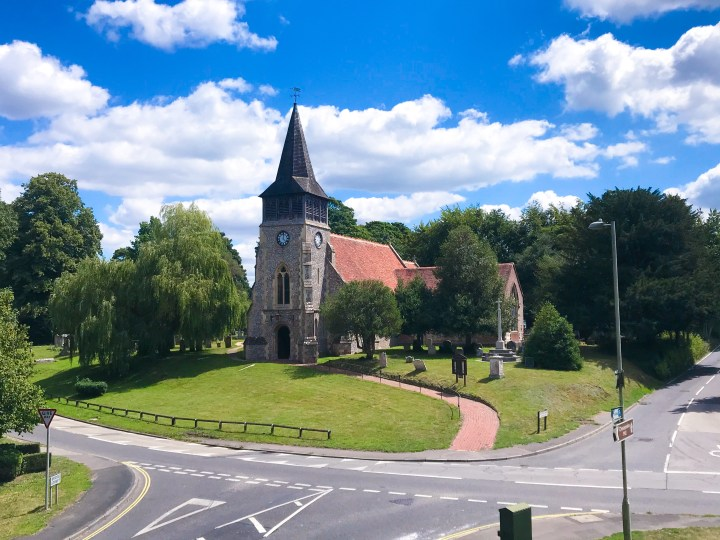 A view of the church on the way to Wickham Water Meadows
