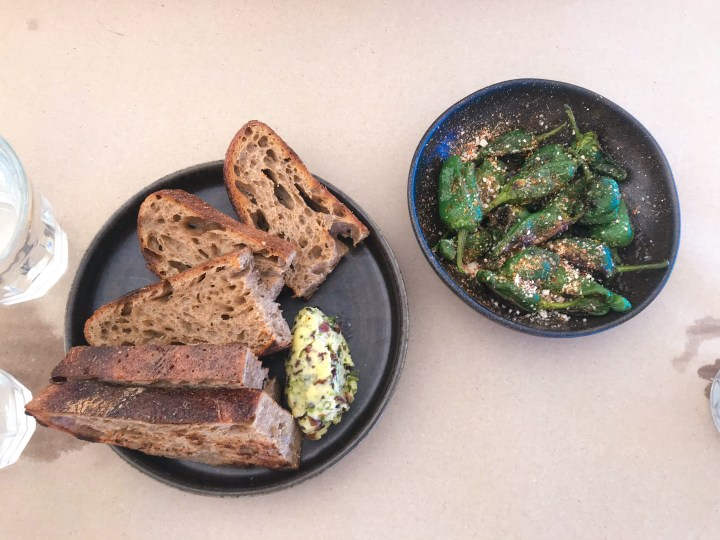 Sourdough and seaweed butter and patron peppers at Prawn on the Farm, Padstow, Cornwall