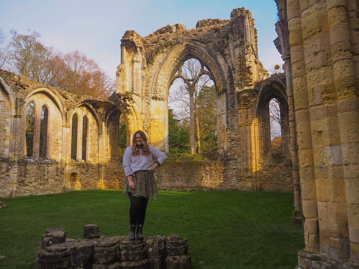 Bex stood in front of the ruins at Netley Abbey in Southampton, Hampshire