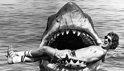 Spielberg during the filming of Jaws