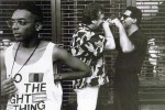 Spike Lee (left) on the set of Do the Right Thing
