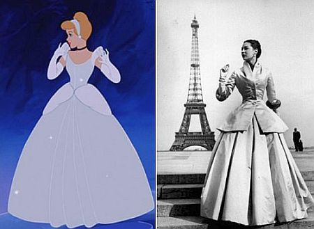 1.Figure 1: Cinderella wearing a Christian Dior-inspired gown. The film still is here paired with Regina Relang's shot of Dior's Zémire ensemble.