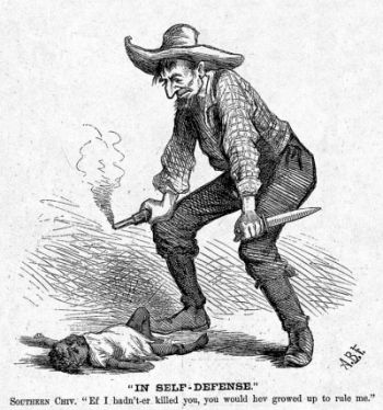 Editorial cartoon by cartoonist A. B. Frost, Harper's Weekly, October 28, 1876