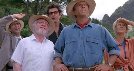 Donald Gennaro, Richard Attenborough, Jeff Goldblum, Sam Neill, and Laura Dern in Jurassic Park (1993)