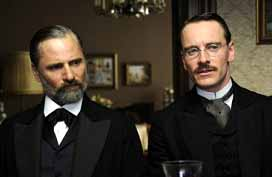 Viggo Mortensen and Michael Fassbender as Freud and Jung