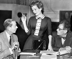 Cole Porter, Leueen McGrath, and Abe Burrows during the Broadway production of Silk Stockings, 1955