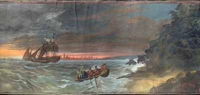 Scene 25 of a British moving panorama painted in 1860 in England to Italian patriot Giuseppe Garibaldi. Scene depicts Garibaldi and Anita escape to the shore of La Mesola as the Austrians capture eight out of twelve boats of the Garibaldian flotilla.