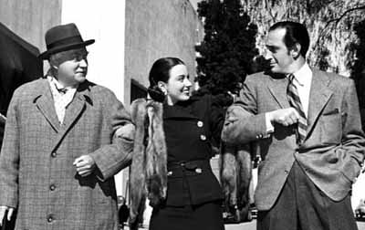 Nigel Bruce, Patricia Morrison, and Rathbone cutting up on the set of Dressed to Kill