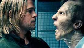 Brad Pitt and a zombie in World War Z