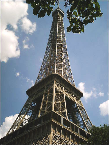 Looking up at the Eiffel tower