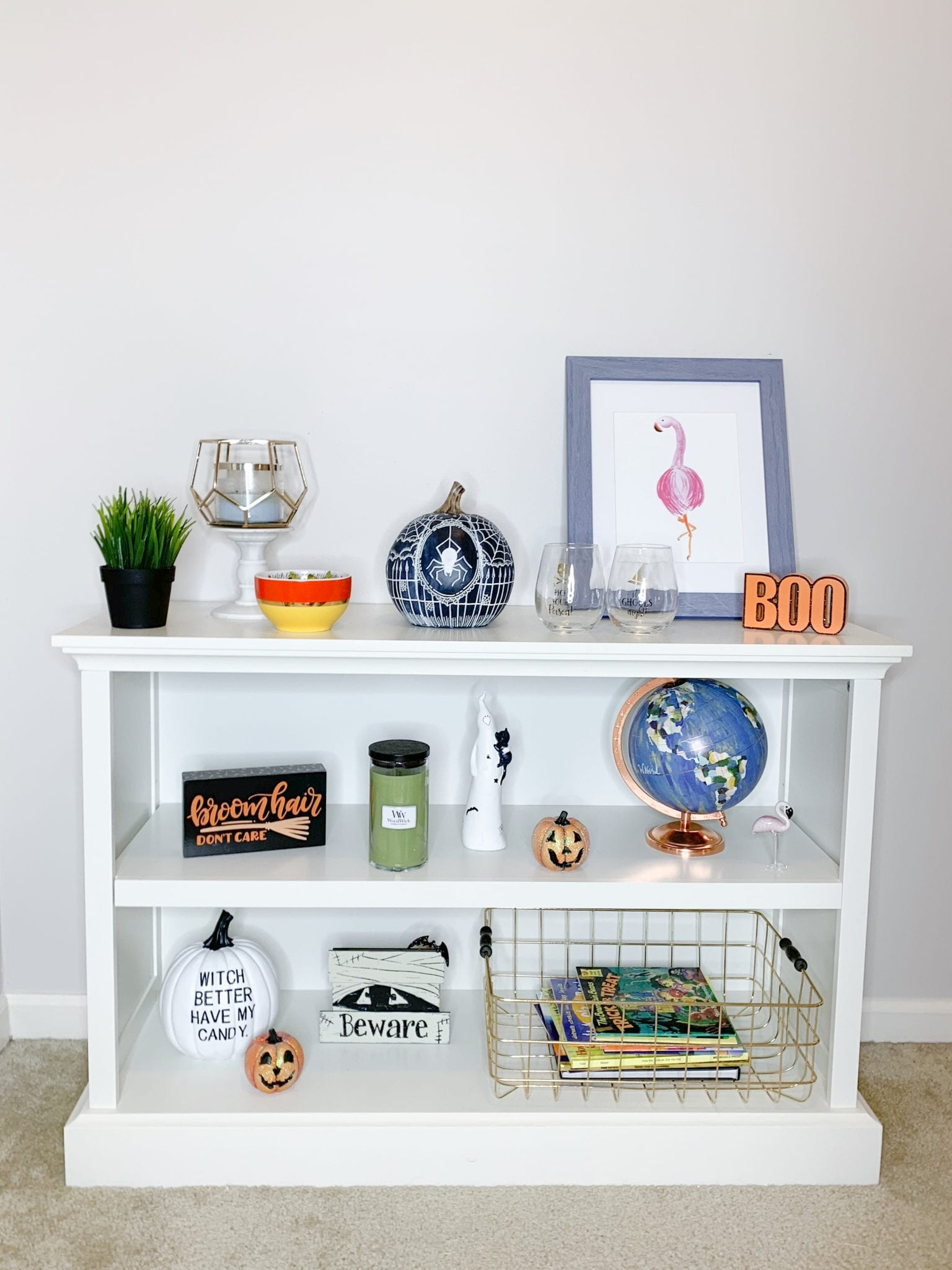 Halloween season is hereeee thank you so much for check. Get Spooky Decorating Your Shelves For Halloween Bright On A Budget