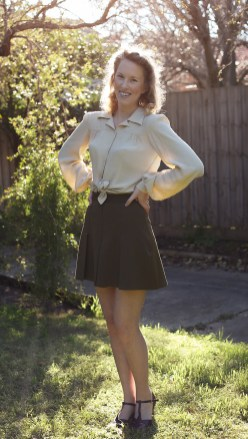 Vintage Style Blog: reproduction 1940s long sleeved yoke blouse and khaki 1930s pleated sport shorts from The House of Foxy, 30s style heels from Charlie Stone