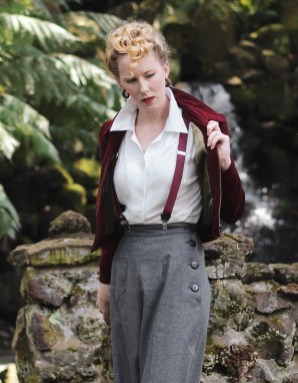 Vintage Style Blog: reproduction 1940s trousers | reproduction 1940s blouse | suspenders | reproduction 1940s wartime era American bomber jacket | teddy girl