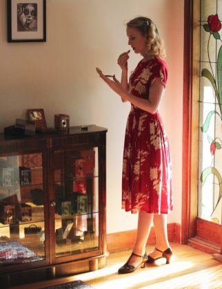 Vintage Style Blog: Elise Design reproduction 1930s red dress | Charlie Stone reproduction vintage shoes