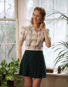 Vintage Style Blog: reproduction 1940s work blouse in grey check and 1930s pleated sport shorts from The House of Foxy