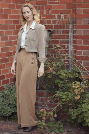 Brighton Bacall Vintage Style Blog: reproduction 1940s Katharine Trousers from Vivien of Holloway, Shirt Blouse and Americana Jacket from The House of Foxy