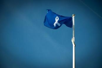 The White Ribbon flag flying high above Sussex police HQ. Credit: @sussex_police