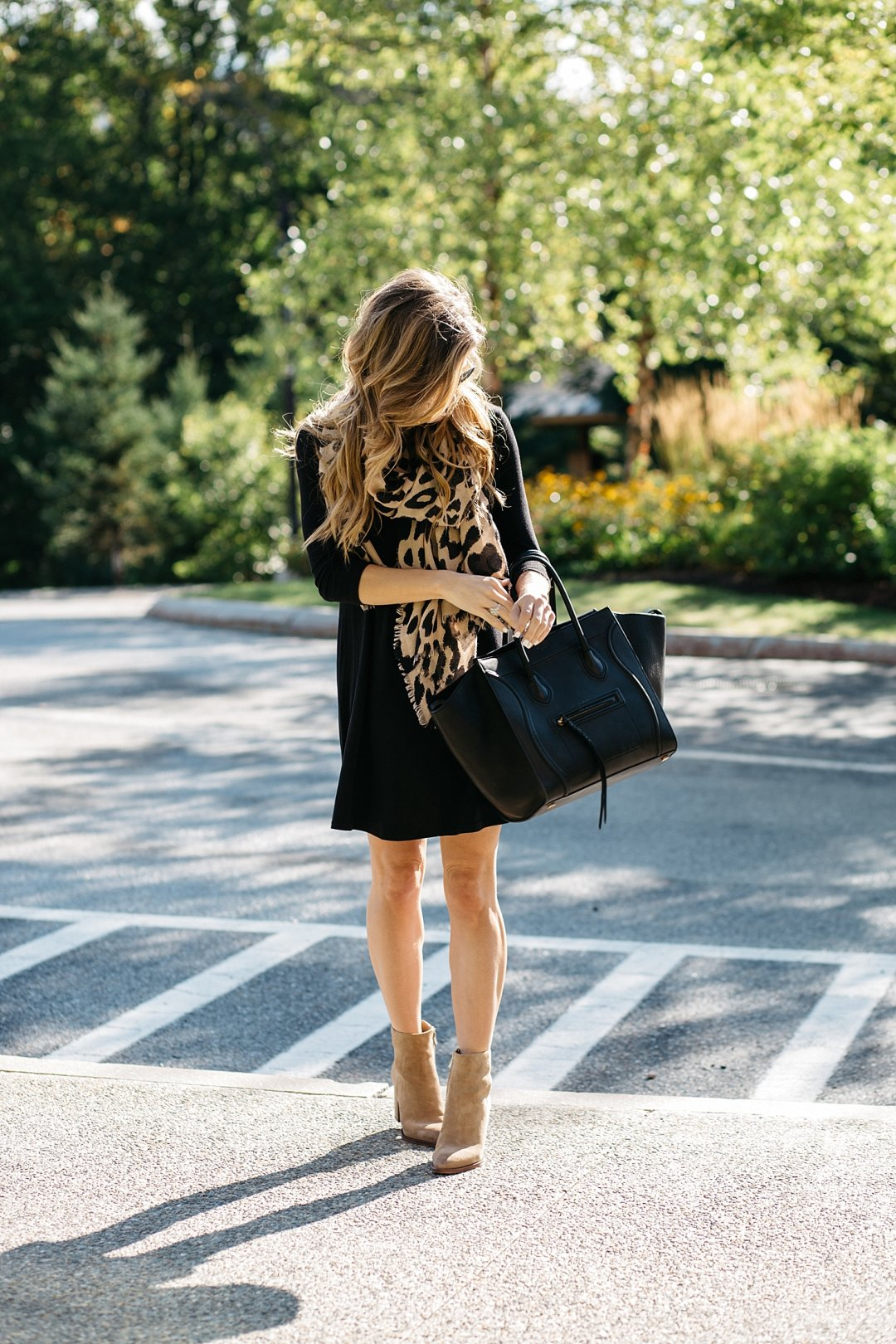 Swing Dress With Boots A Neutral Themed Pre Fall Outfit
