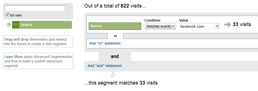 Create advanced segment in google analytics - step 2