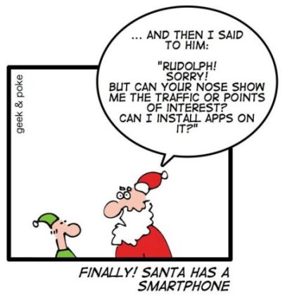 Smartphone use on the rise. Even Santa has a smartphone.
