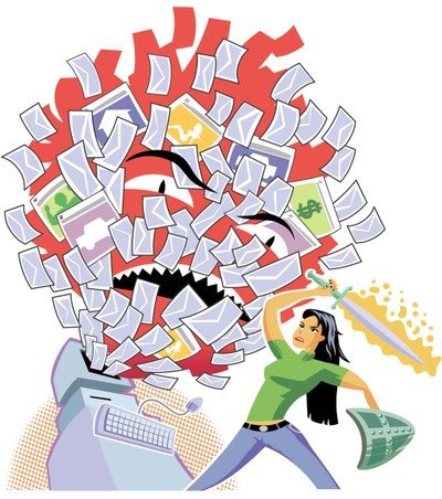Woman fighting email with sword - How to avoid email fatigue in December and still raise money.