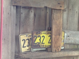 Old license plates tucked away inside the hog shed.