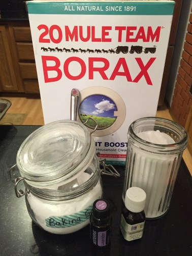 Assembled ingredients: borax, baking soda, two essential oils.