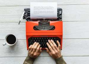 Social Media Content being written on a typewriter