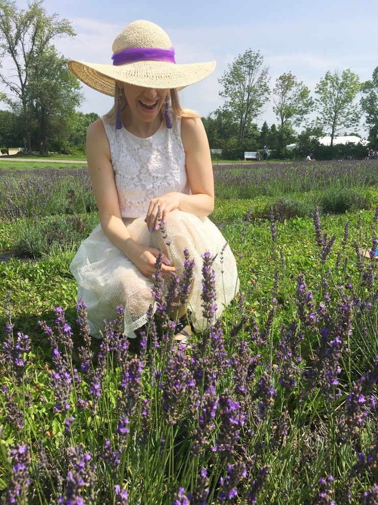 Purple ribbon on sunhat at a lavender field
