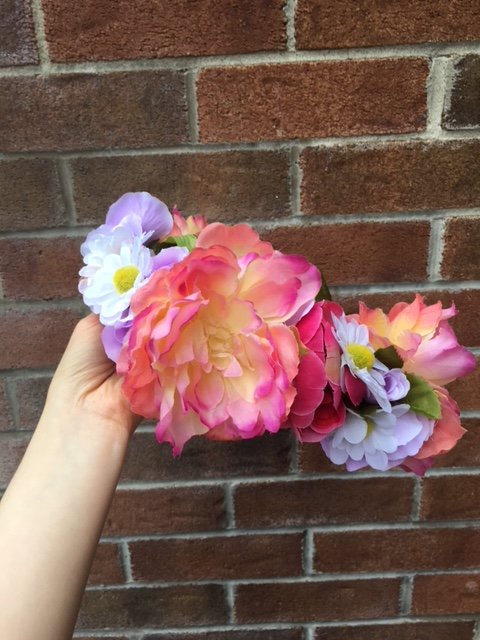 DIY Flower Crown - pink, peach, daisies