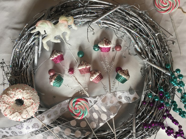 Christmas Wreath supplies - cupcakes, unicorn, donut