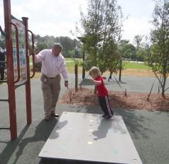 Mayor Mathews showing Carson where to jump next.