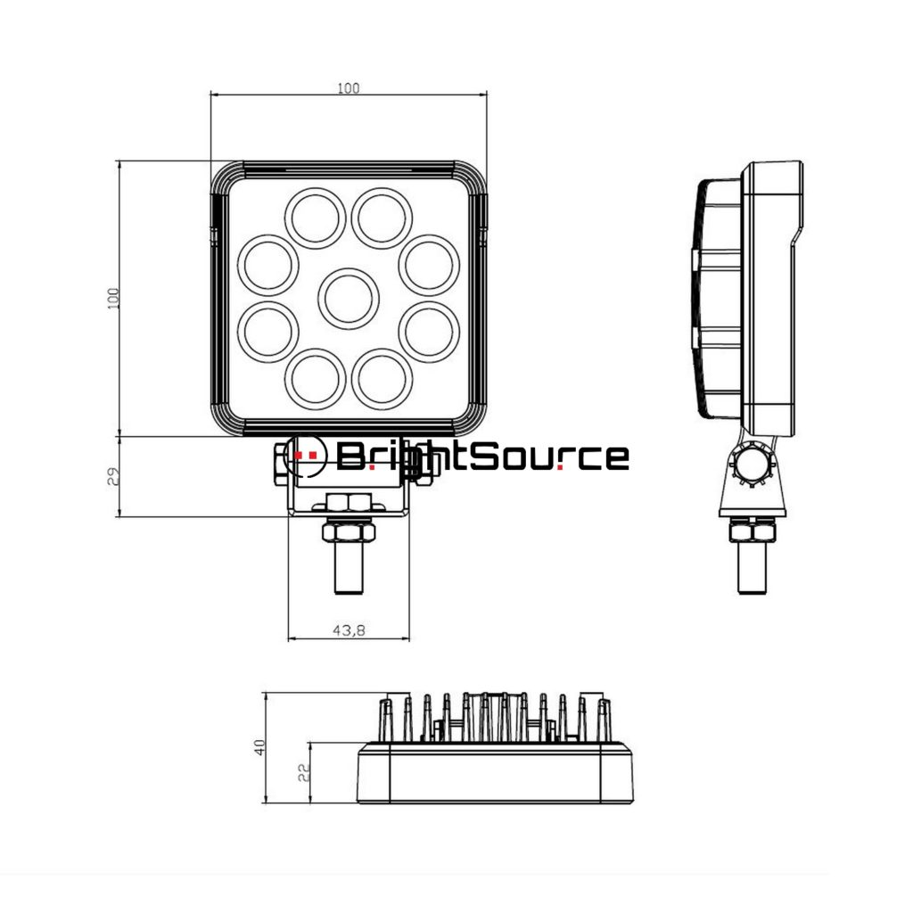 Get Durable 4 Square 15w Work Light Flood Lm