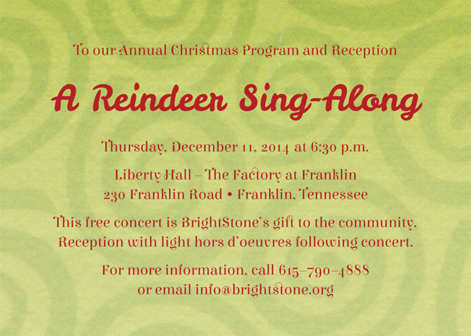 Upcoming Events | Christmas Program & Reception | BrightStone
