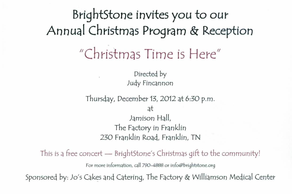 You Are Invited to our Christmas Program! | BrightStone